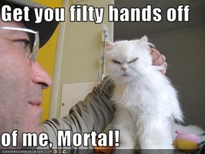 Get you filty hands off   of me, Mortal!