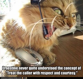 "Ernestine never quite understood the concept of ""Treat the caller with respect and courtesy."""