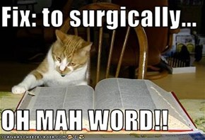Fix: to surgically...  OH MAH WORD!!