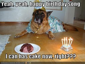 Yeah, yeah, happy birthday song  I can has cake now, right???