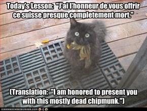 """Today's Lesson:  """"J'ai l'honneur de vous offrir ce suisse presque completement mort."""""""
