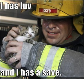 I has luv  and I has a save.