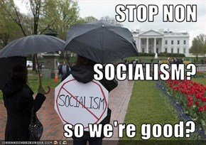 STOP NON SOCIALISM? so we're good?