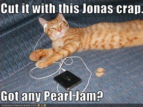 Cut it with this Jonas crap.  Got any Pearl Jam?