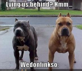 Lving us behind? Hmm...  Wedonfinkso.
