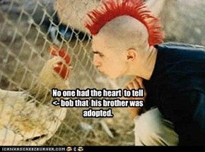 No one had the heart  to tell  <- bob that  his brother was adopted.