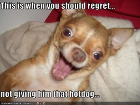 This is when you should regret...  not giving him that hotdog...