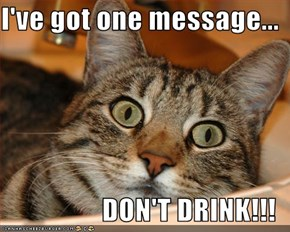 I've got one message...  DON'T DRINK!!!