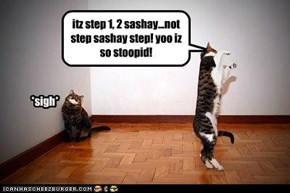 itz step 1, 2 sashay...not step sashay step! yoo iz so stoopid!