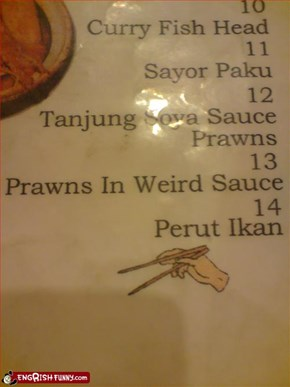 Prawns in weird sauce.