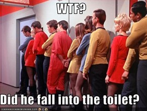 WTF?  Did he fall into the toilet?
