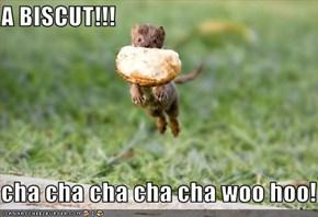 A BISCUT!!!  cha cha cha cha cha woo hoo!