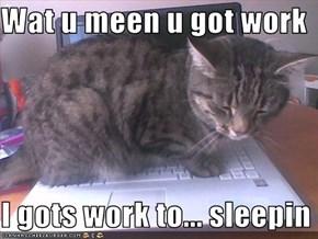 Wat u meen u got work  I gots work to... sleepin