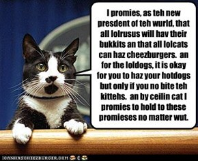 I promies, as teh new presdent of teh wurld, that all lolrusus will hav their bukkits an that all lolcats can haz cheezburgers.  an for the loldogs, it is okay for you to haz your hotdogs but only if you no bite teh kittehs.  an by ceilin cat I promies to