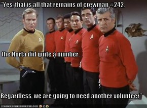 """""""Yes, that is all that remains of crewman #242,  the Horta did quite a number. Regardless, we are going to need another volunteer"""""""
