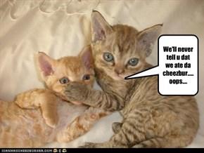 We'll never tell u dat we ate da cheezbur.....oops....