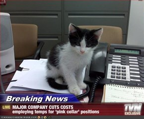 Breaking News - MAJOR COMPANY CUTS COSTS employing temps for 'pink collar' positions