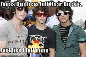 Jonas Brothers luff their Duckie.  Just like I luff mine.