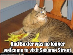 And Baxter was no longer welcome to visit Sesame Street.