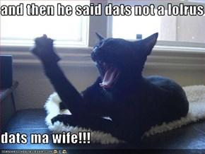 and then he said dats not a lolrus  dats ma wife!!!