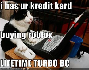 i has ur kredit kard buying roblox LIFETIME TURBO BC