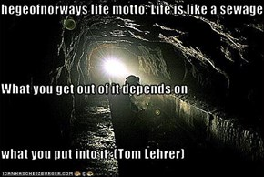 hegeofnorways life motto: Life is like a sewage. What you get out of it depends on what you put into it. (Tom Lehrer)