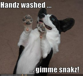 Handz washed ...  ... gimme snakz!