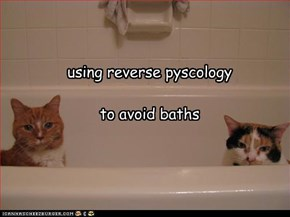 using reverse pyscology   to avoid baths