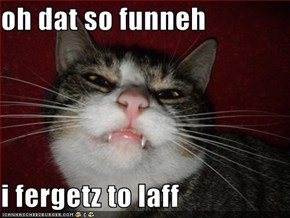 oh dat so funneh  i fergetz to laff