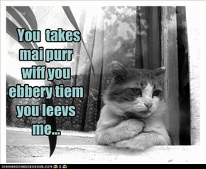 You  takes mai purr wiff you ebbery tiem you leevs me...