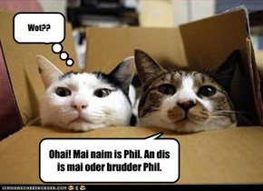 Ohai! Mai naim is Phil. An dis is mai oder brudder Phil.
