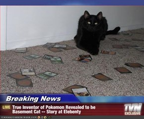 Breaking News       - True Inventor of Pokemon Revealed to be           Basement Cat -- Story at Elebenty