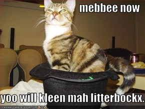 mebbee now   yoo will kleen mah litterbockx.