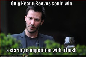 Only Keanu Reeves could win  a staring competition with a bush