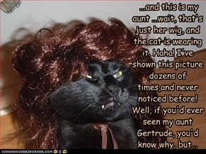 ...and this is my aunt ...wait, that's just her wig, and the cat is wearing it. Haha! I've shown this picture dozens of times,and never noticed before! Well, if you'd ever seen my aunt Gertrude, you'd know why, but...