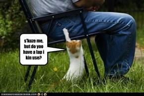 s'kuze me, but do yoo have a lap i kin use?