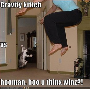 Gravity kitteh vs hooman. hoo u thinx winz?!