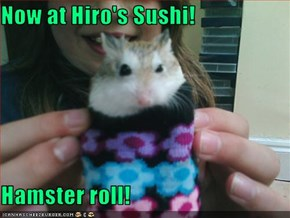 Now at Hiro's Sushi!  Hamster roll!