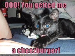 OOO! You getted me   a cheezburger!