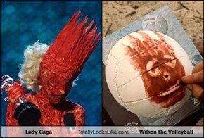 Lady Gaga Totally Looks Like Wilson the Volleyball