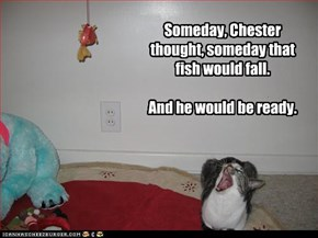 Someday, Chester thought, someday that fish would fall.  And he would be ready.