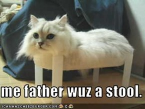 me father wuz a stool.