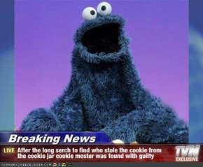 Breaking News - After the long serch to find who stole the cookie from the cookie jar cookie moster was found with guilty