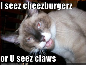 I seez cheezburgerz  or U seez claws