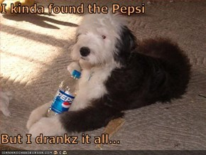 I kinda found the Pepsi  But I drankz it all...