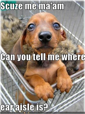 Scuze me ma'am Can you tell me where  ear aisle is?