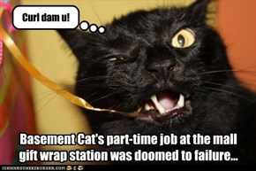 Basement Cat's part-time job at the mall  gift wrap station was doomed to failure...