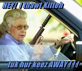 HEY!  I thawt Kitteh  tuk hur keez AWAY ! ! !
