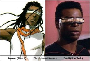 Tousen (Bleach) Totally Looks Like Jordi (Star Trek)