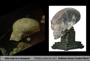 This rock in a museum Totally Looks Like Indiana Jones Crystal Skull